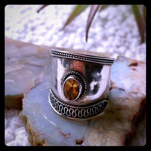 Beautiful Citrine ornate Sterling 925 Large Ring